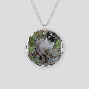 Siamese Cat Necklace Circle Charm