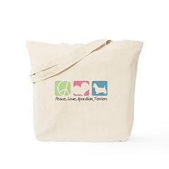 Peace, Love, Australian Terriers Tote Bag