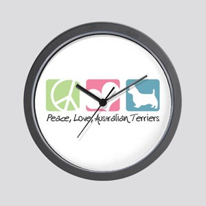 Peace, Love, Australian Terriers Wall Clock