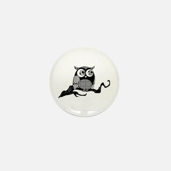 Cute Graphic Owl Mini Button