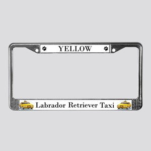 Yellow Lab Taxi License Plate Frame