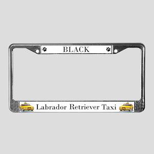 Black Lab Taxi License Plate Frame