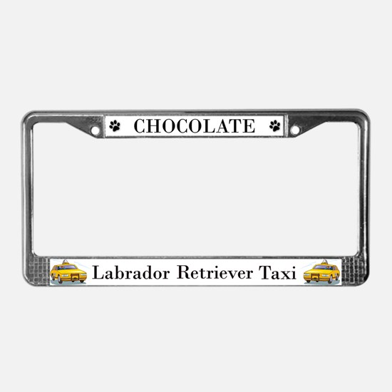 Chocolate Lab Taxi License Plate Frame
