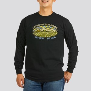 Support Your Local Farmer Long Sleeve Dark T-Shirt
