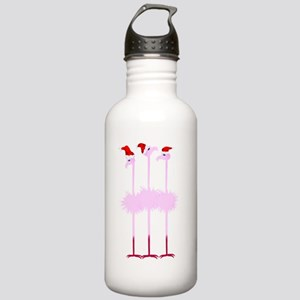 Three Christmas Flamingos Stainless Water Bottle 1