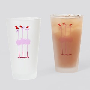 Three Christmas Flamingos Drinking Glass