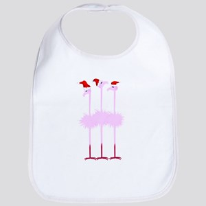Three Christmas Flamingos Bib