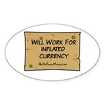 Will Work Inflation 2 Sticker (Oval 50 pk)