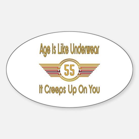 Funny 55th Birthday Sticker (Oval)