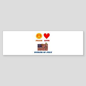 Peace Love Fourth of July Sticker (Bumper)