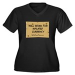 Will Work Inflation 2 Women's Plus Size V-Neck Dar
