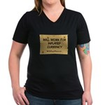 Will Work Inflation 2 Women's V-Neck Dark T-Shirt