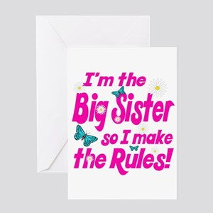 Big sister of twins greeting cards cafepress big sister makes the rules greeting card m4hsunfo