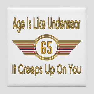 Funny 65th Birthday Tile Coaster