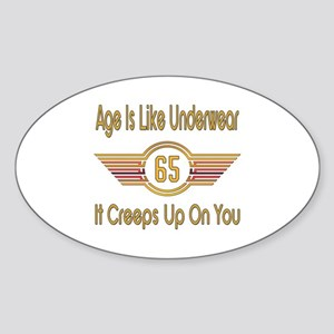 Funny 65th Birthday Sticker (Oval)
