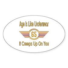 Funny 65th Birthday Sticker (Oval)