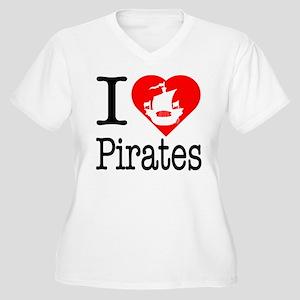 I Love Pirates Women's Plus Size V-Neck T-Shirt