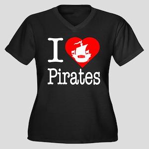 I Love Pirates Women's Plus Size V-Neck Dark T-Shi