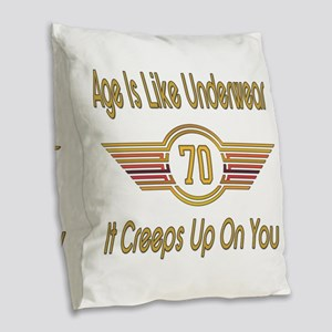 Funny 70th Birthday Burlap Throw Pillow