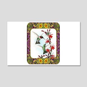 Hummingbirds and Flowers #5 22x14 Wall Peel