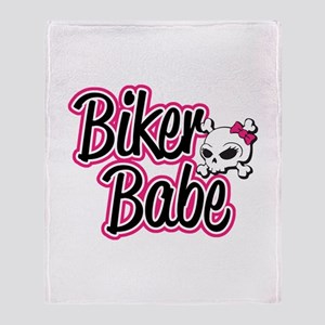 Biker Babe Throw Blanket