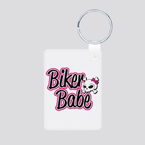 Biker Babe Aluminum Photo Keychain