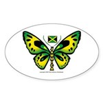 Jamaica Butterfly Oval Sticker