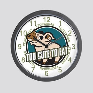 Too Cute to Eat Pig Wall Clock