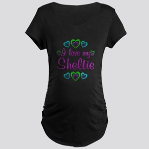 Love My Sheltie Maternity Dark T-Shirt