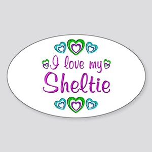 Love My Sheltie Sticker (Oval)
