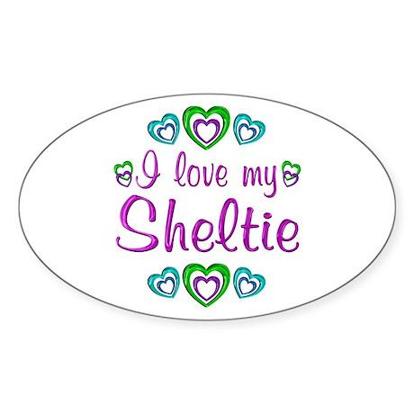 Love My Sheltie Sticker (Oval)