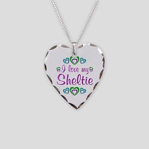 Love My Sheltie Necklace Heart Charm