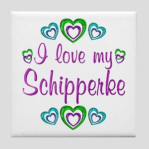 Love My Schipperke Tile Coaster