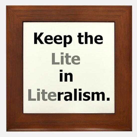 Keep the Lite in Literalism Framed Tile