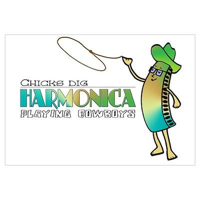 Harmonica Cowboy Poster