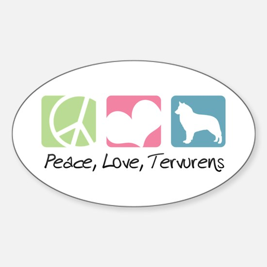 Peace, Love, Tervurens Sticker (Oval)