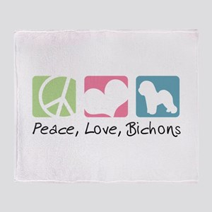 Peace, Love, Bichons Throw Blanket