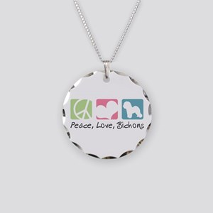 Peace, Love, Bichons Necklace Circle Charm