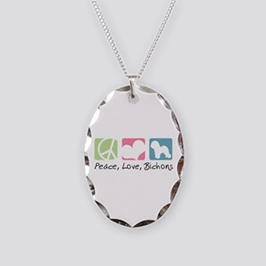 Peace, Love, Bichons Necklace Oval Charm