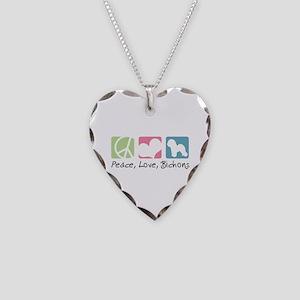 Peace, Love, Bichons Necklace Heart Charm
