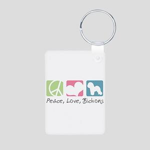 Peace, Love, Bichons Aluminum Photo Keychain