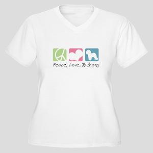 Peace, Love, Bichons Women's Plus Size V-Neck T-Sh