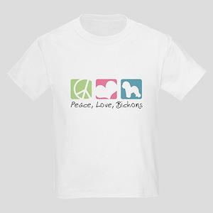 Peace, Love, Bichons Kids Light T-Shirt