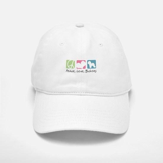 Peace, Love, Bichons Baseball Baseball Cap
