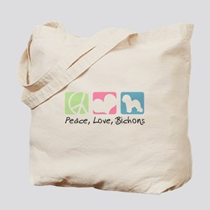 Peace, Love, Bichons Tote Bag