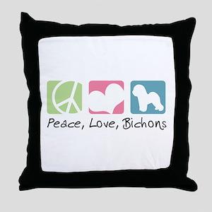 Peace, Love, Bichons Throw Pillow