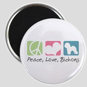 Peace, Love, Bichons Magnet