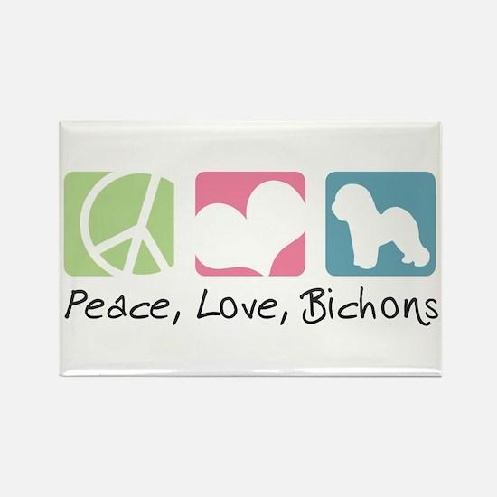 Peace, Love, Bichons Rectangle Magnet