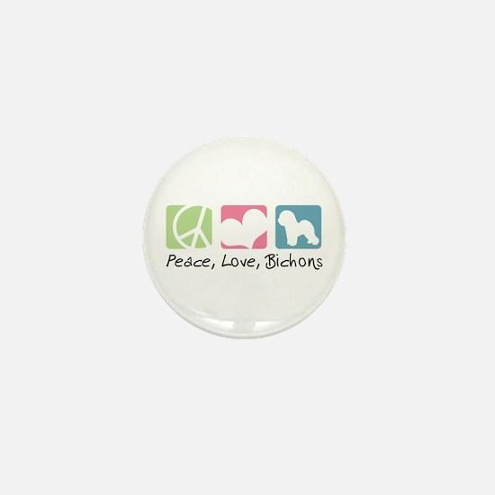 Peace, Love, Bichons Mini Button