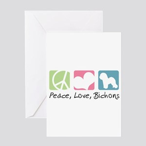 Peace, Love, Bichons Greeting Card